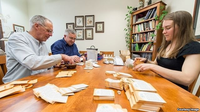 Jack Kloppenburg (left), professor in the Department of Community and Environmental Sociology, Irwin Goldman (center), chair of the Department of Horticulture, and Claire Luby (right), graduate student in the UW's Plant Breeding and Plant Genetics program, fill envelopes with non-patented seeds in the Horticulture office in Moore Hall at the University of Wisconsin-Madison, April 11, 2014.